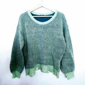 Splendid Green Distressed Scoop Neck Sweater